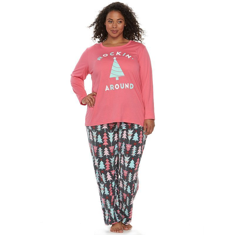 jammies for your families plus size christmas tree pajama set womens size
