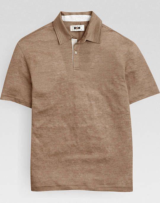 Joseph Abboud Tan Linen Modern Fit Polo Shirt