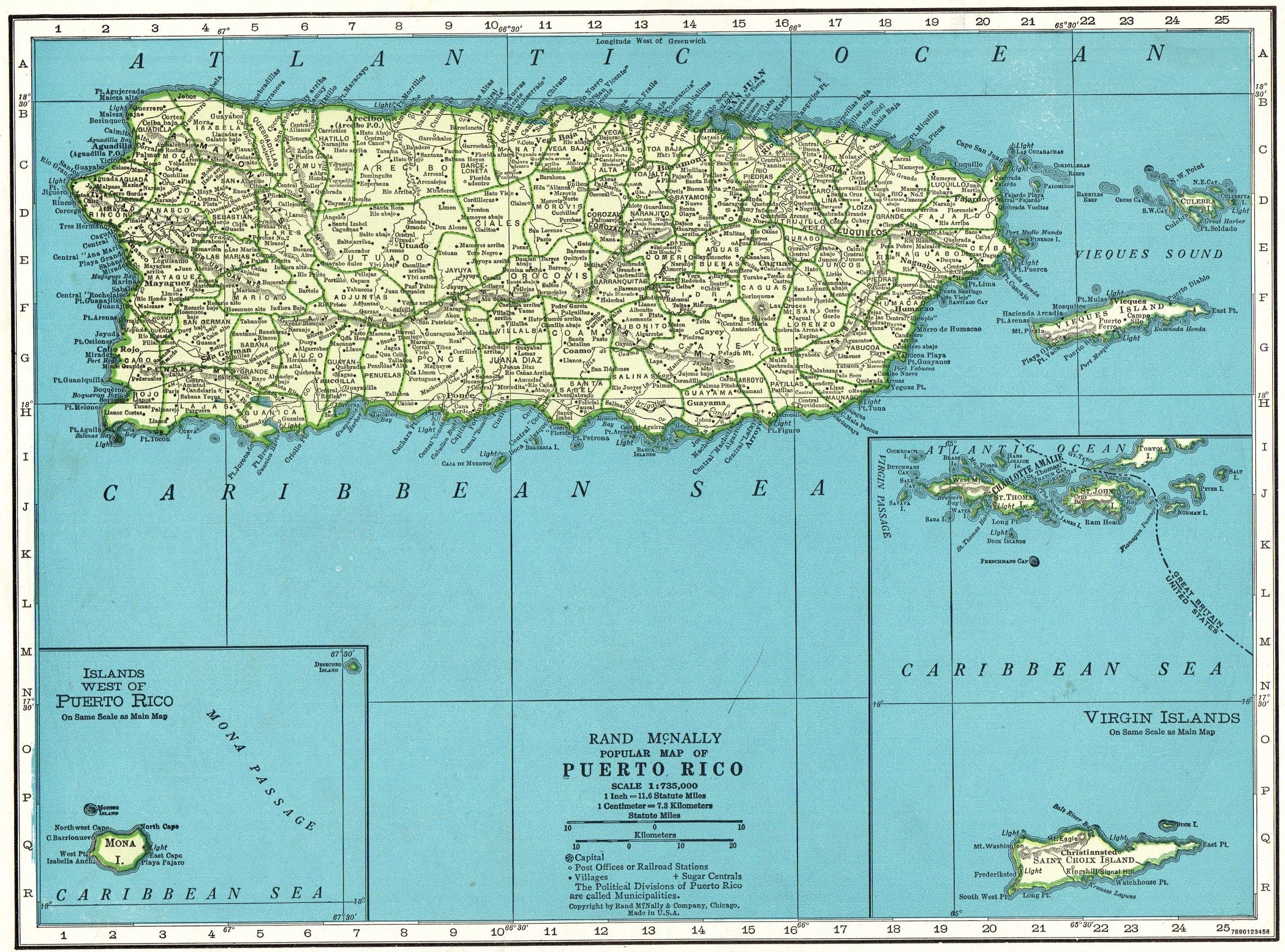 picture relating to Printable Map of Puerto Rico called 1947 Basic PUERTO RICO Map Antique Map of Puerto Rico