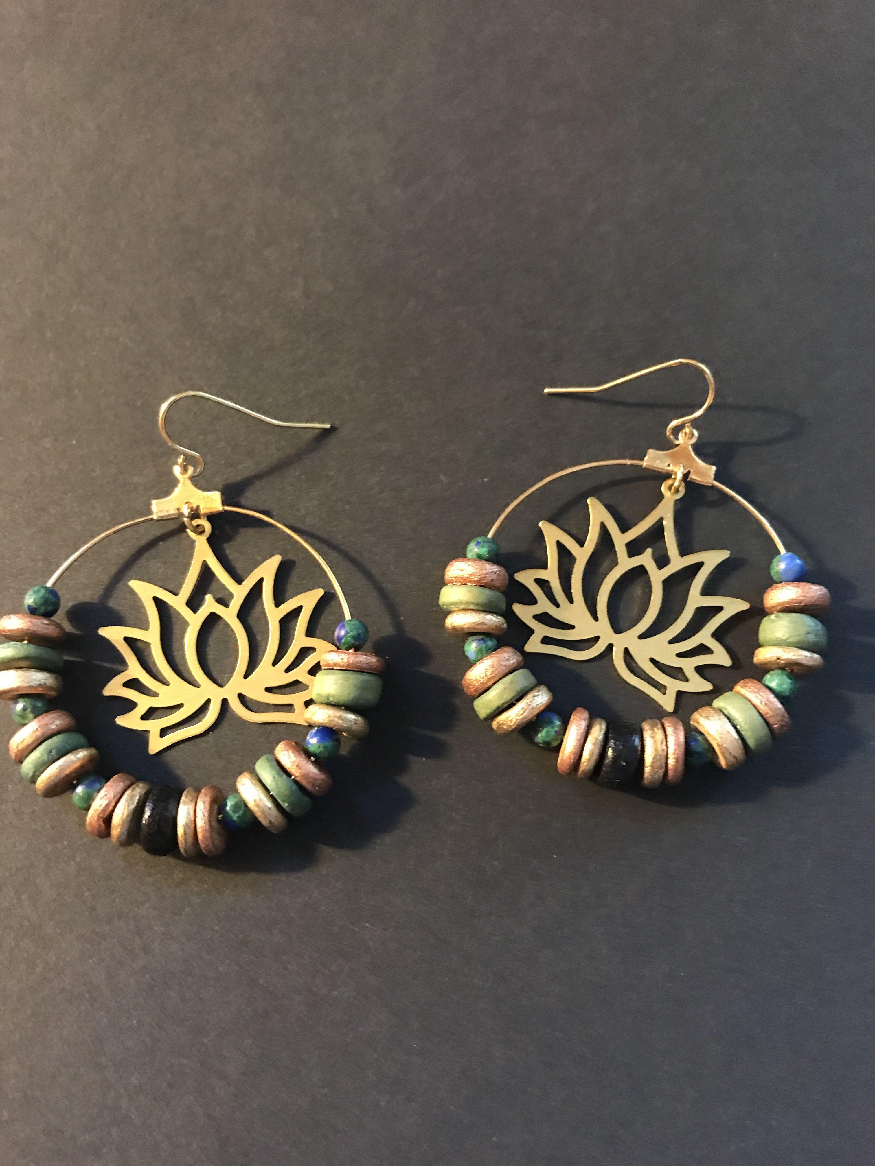 Nature Inspired Dangle Earrings Drop Earrings,Brass Earrings Brass Leaf Earrings Mandala Drop Earrings Boho Style Handmade.