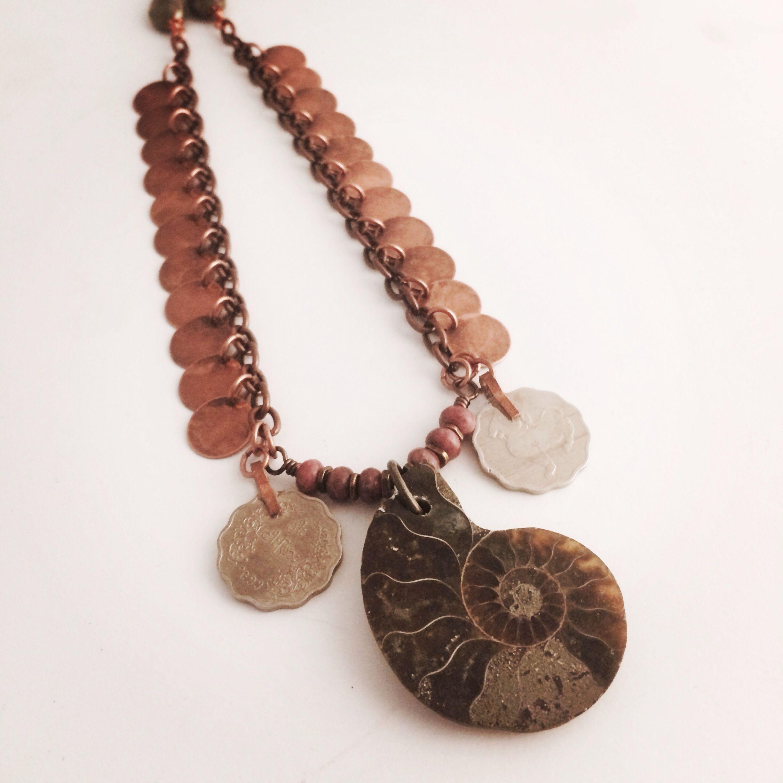 Ammonite in Rhodonite, Copper and Pyrite