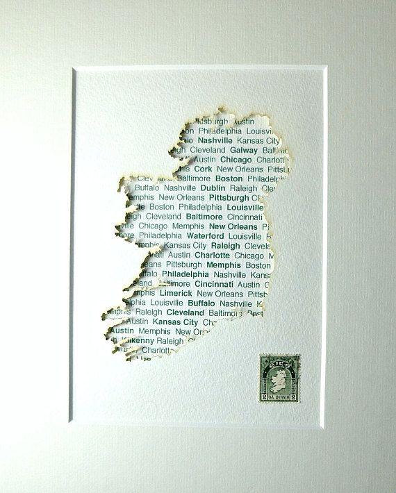 Made In Ireland Irish Gift For Him United States Cities Map Ireland Map Ireland Irish Wedding Gift From Irelan Irish Gifts Irish Wedding Gifts Ireland Map