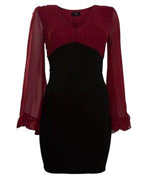 Burgundy (Red) AX Paris Burgundy Chiffon Long Sleeve Dress | 273807267 | New Look