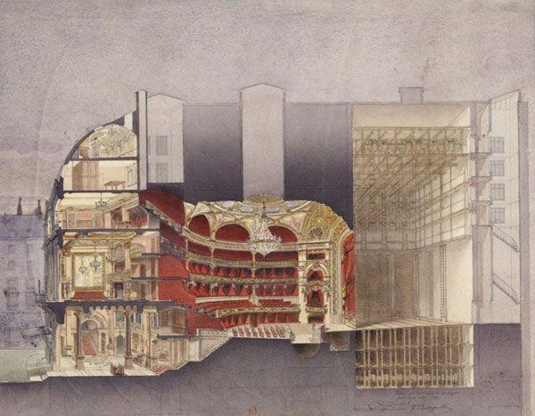 Théâtre national de L'Opéra comique  Projets primés pour la reconstruction de l'Opéra comique. Coupe longitudinale — Bernier, architecte  - France, Paris, 1893