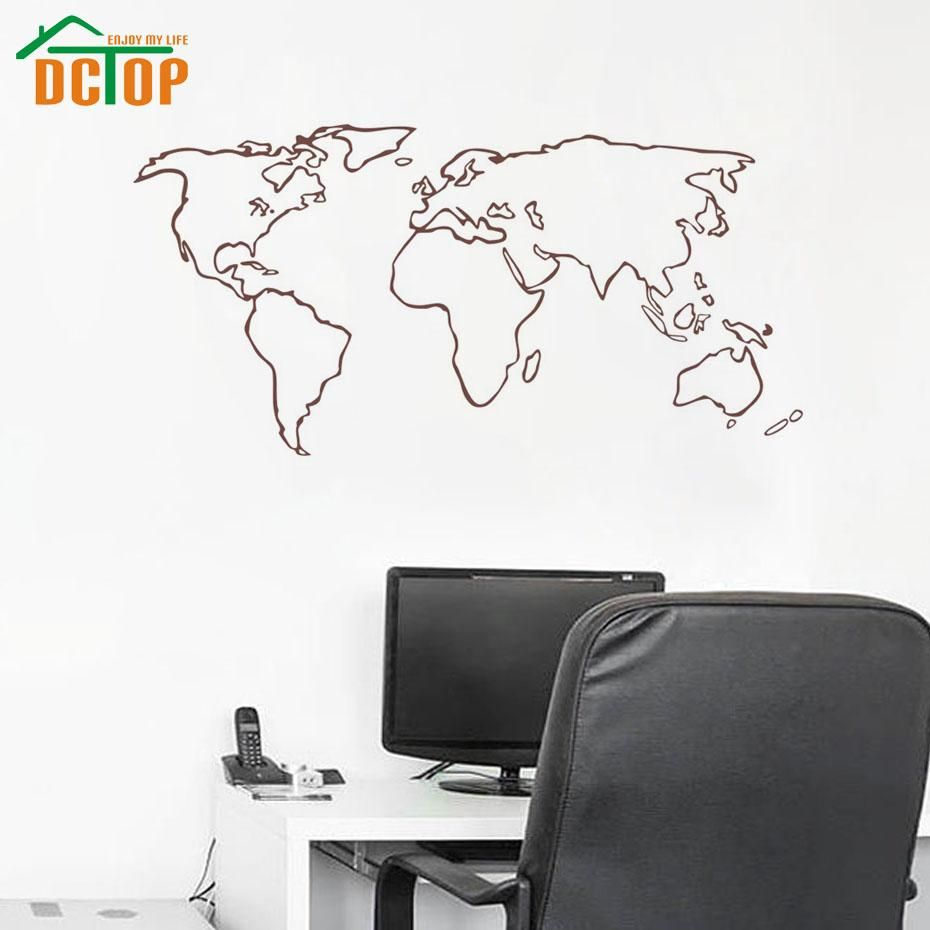 world map outline decal