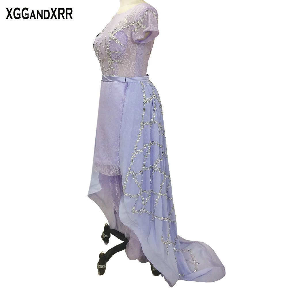 Hot sale light purple lace high low prom dresses short sleeves