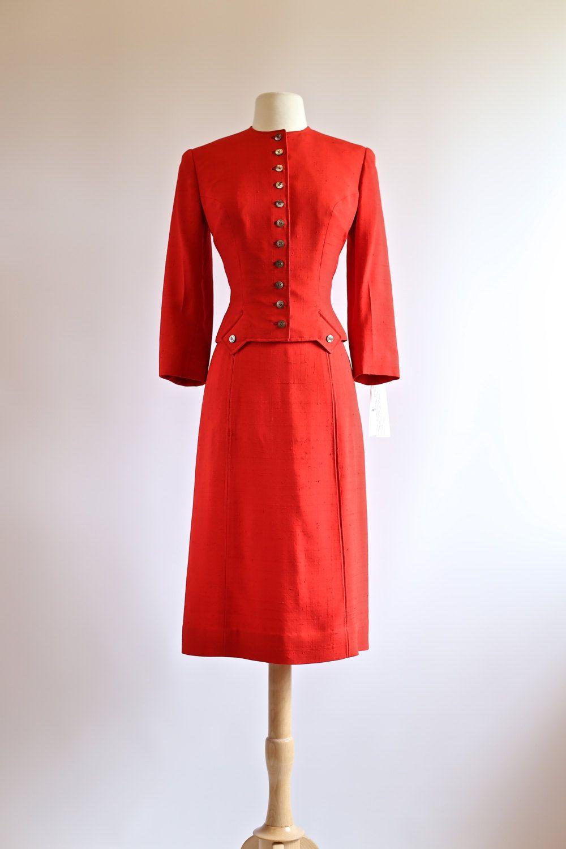 Vintage 1950s Red Suit Vintage 50s Ladies Suit 2 Piece Dress Suit 1950s Cherry Red Tailored Suit Vintage Dress Design Vintage Clothing Boutique Piece Dress [ 1500 x 1000 Pixel ]