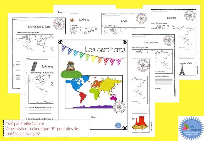 French cahier activités sur les continents
