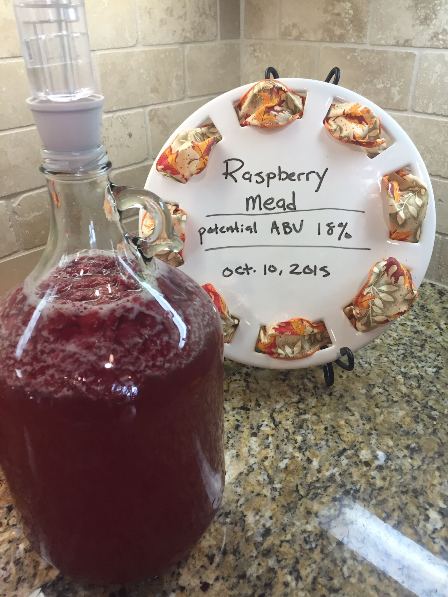 First batch of raspberry mead. ~T