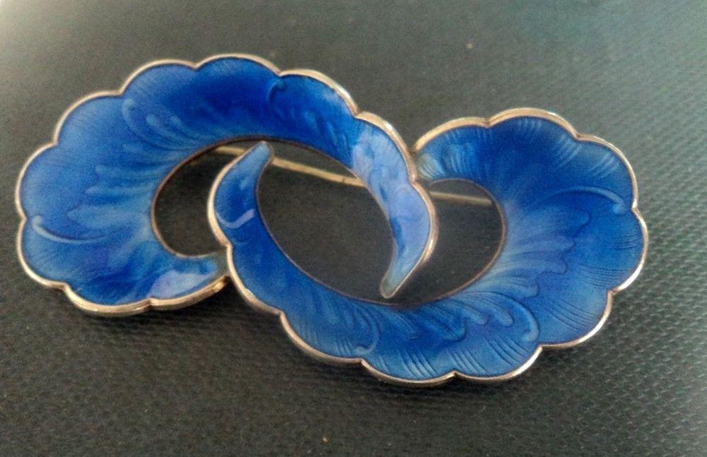 Norwegian Silver & Blue Enamel Shell Brooch - Ivar Holt - Norway 1950/70s  | eBay