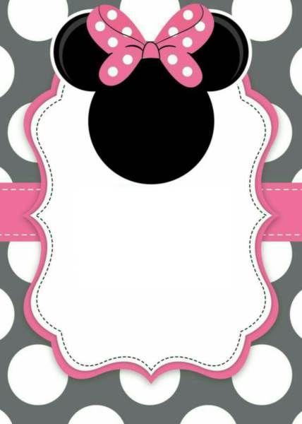 24 convites da minnie rosa com estampas delicadas modelos de