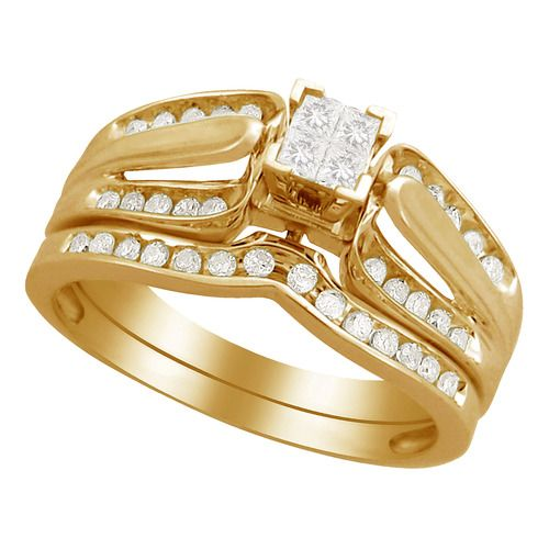 13 carat tw diamond quad top bridal set in yellow gold gold engagement ringsbridal setsat walmartwedding
