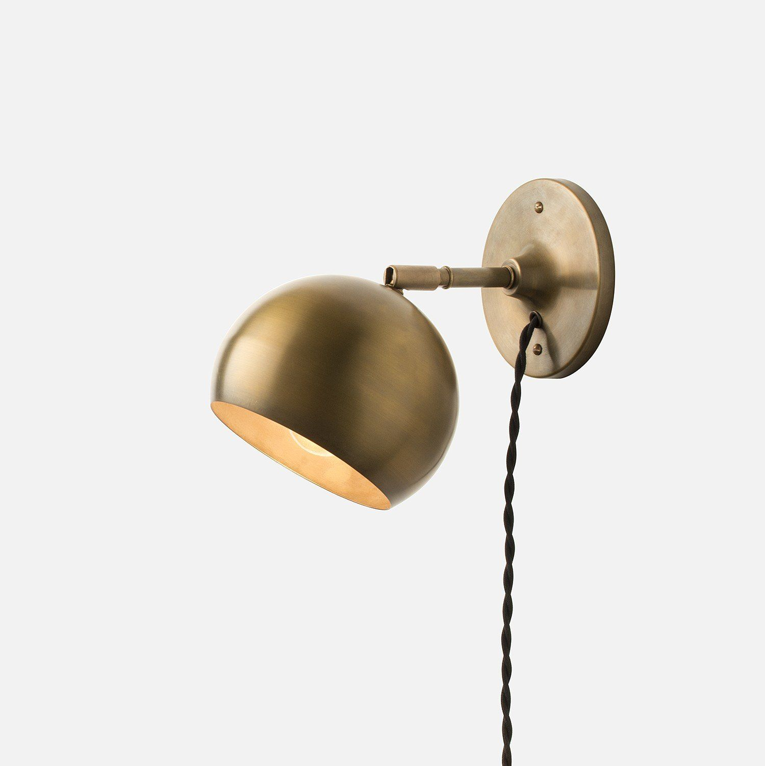 Isaac Plug In Sconce Brass Short Arm House Plug In