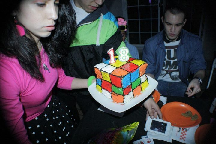 My 80's theme birthday party was so much fun. I wish I had more than 30 minute to do my cake though. Still delicious! Rubik's cube birthday cake