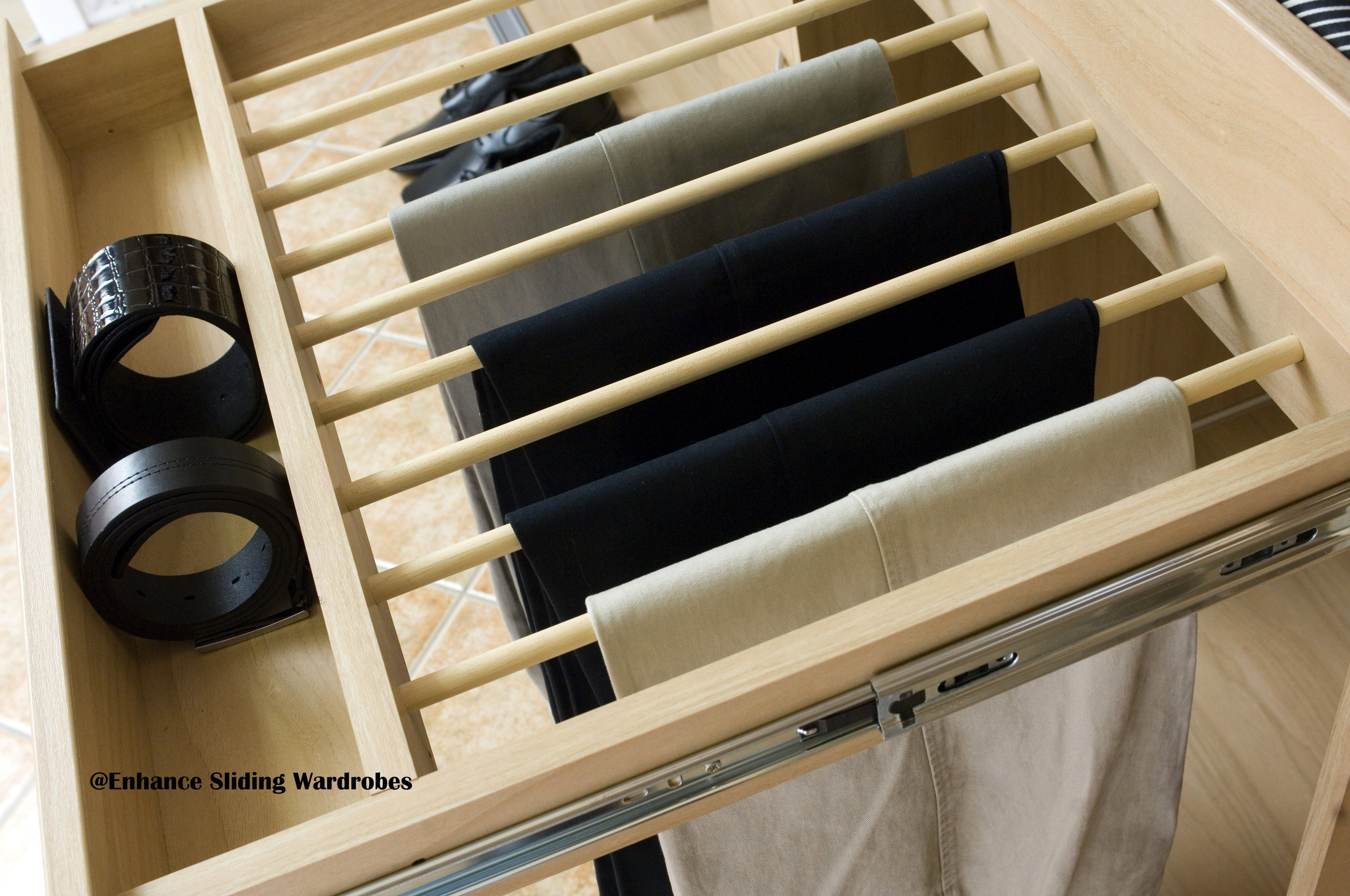 Oak Pull Out Trouser Rack Rail With Tie Belt Section