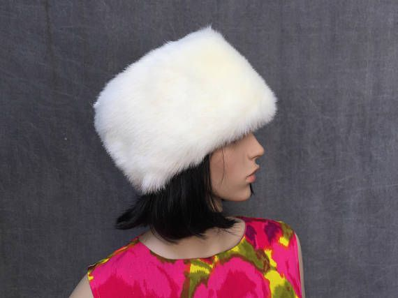 5854186c3 Vintage White Faux Fur Toque Hat Russian Style Winter Hat by ...