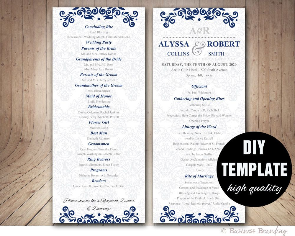 wedding program template instant download microsoft word silver and