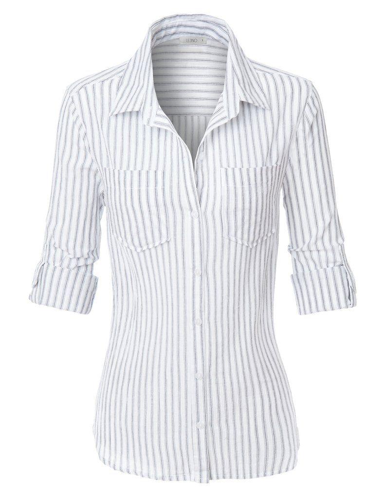 5a151921 Women's Work shirts LE3NO Womens Lightweight Cotton Striped Button Down  Shirt