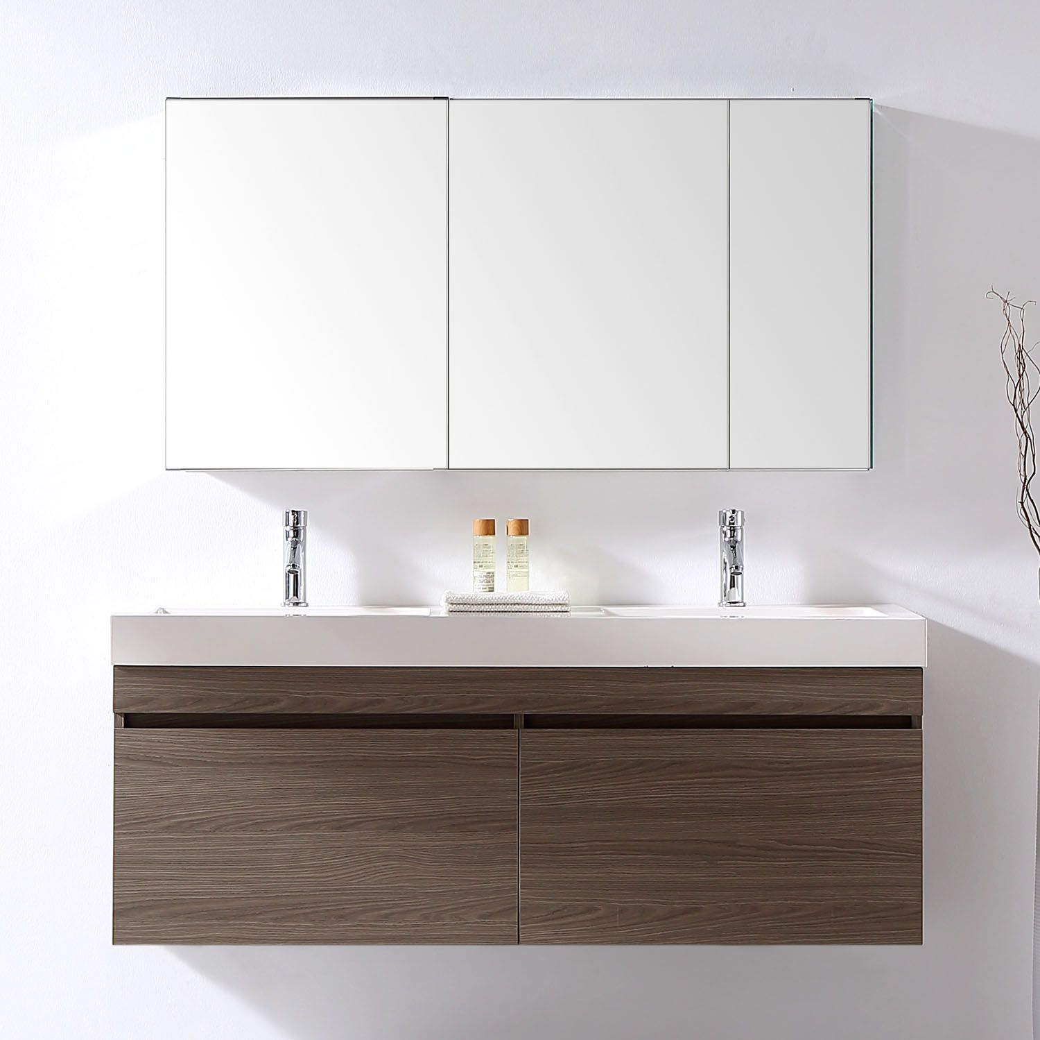 54 Inch Wall Mounted Double Sink Bathroom Vanity Grey Oak Finish
