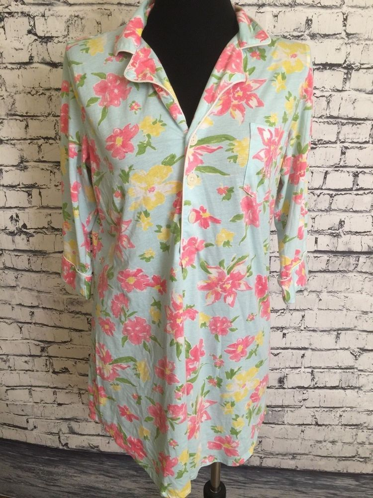 bf1f889729d Lauren Ralph Lauren Blue 3 4 Sleeve Floral Night Sleep Wear Lounge Shirt  Gown L  LaurenRalphLauren  Sleepshirt  Everyday