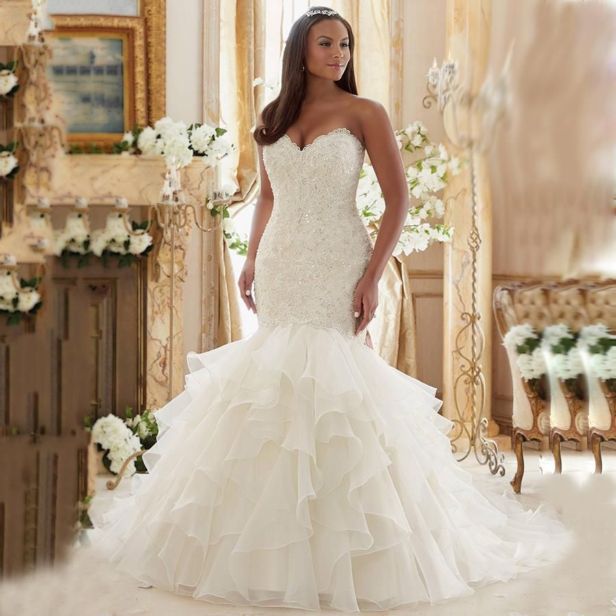 Bling Brides Bouquet online Bridal Store Sexy Sweetheart Off Shoulder  Fitted Bridal Gown Luxury Lace Ruffled Plus Size Wedding Dresses Mermaid Bridal  gown ... fa04e4e3c0ac
