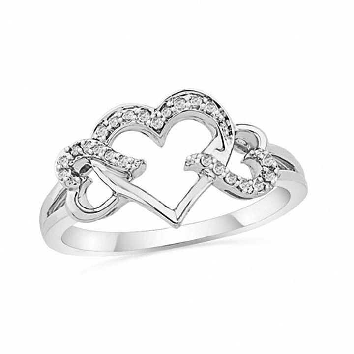 Zales 1/20 CT. T.w. Enhanced Black and White Diamond Triple Heart Ring in Sterling Silver F5ZH1