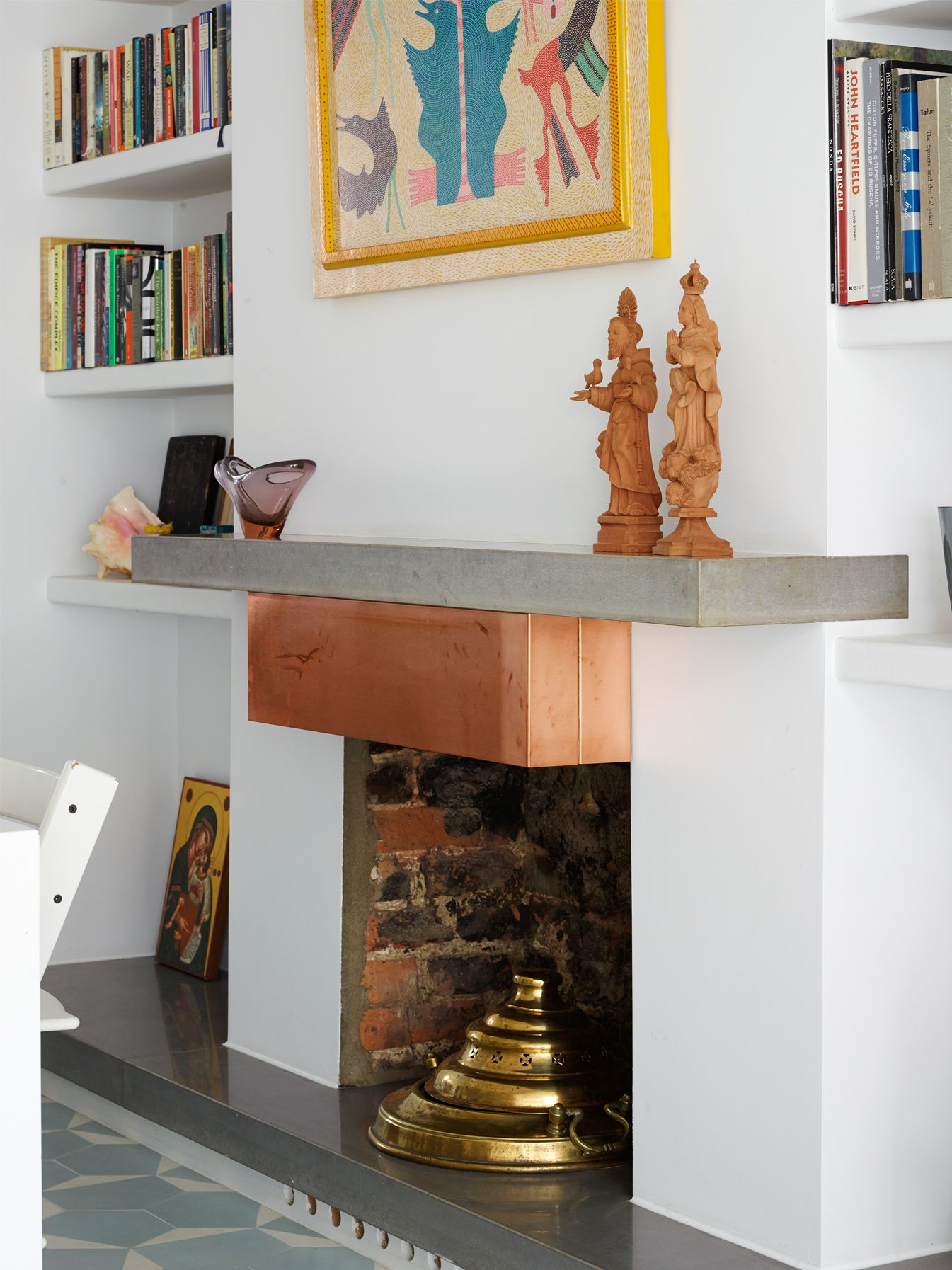 Concrete Fire Hearth With Matching Concrete Shelf Above The Fire