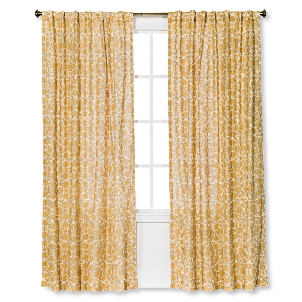 Moroccan tile curtain panel light gold