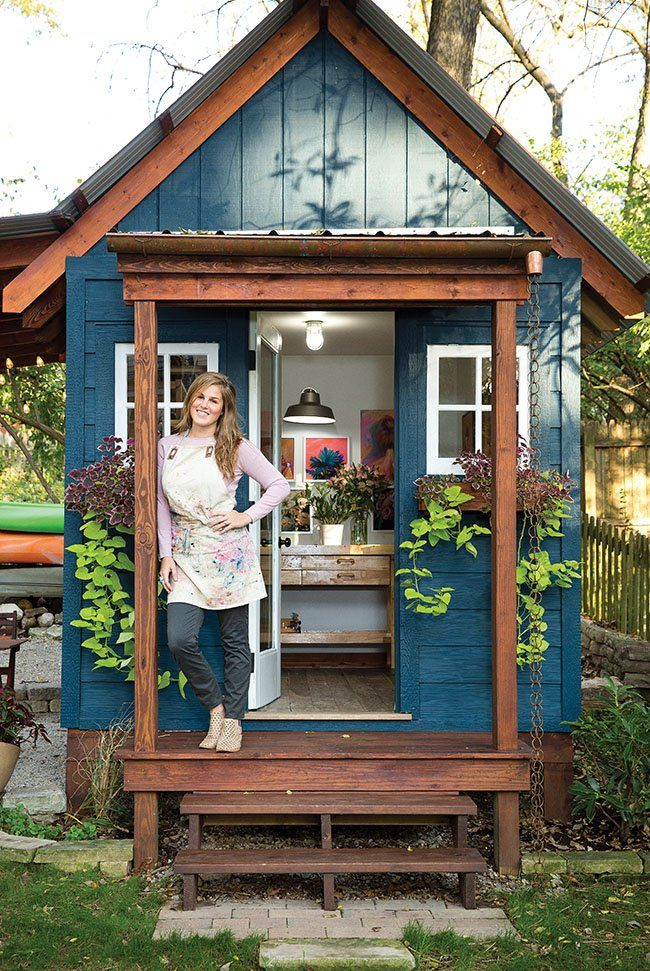 st louis at home magazine artist rachel roe 39 s she shed backyard art studio in 2019 backyard. Black Bedroom Furniture Sets. Home Design Ideas
