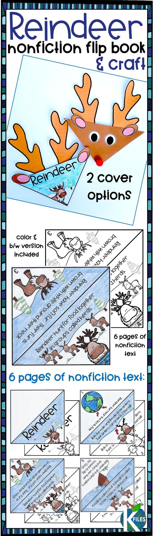 Reindeer Nonfiction Flip book and Craft Activity | Pinterest | Flip ...