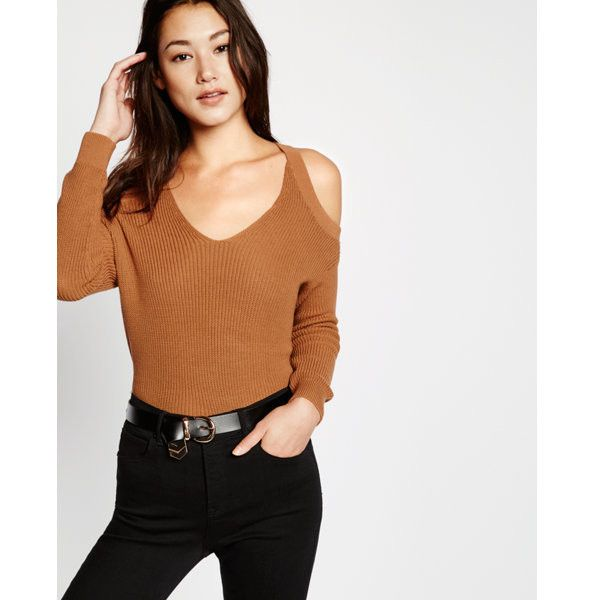 Express Cold Shoulder Shaker Knit Sweater (67 CAD) ❤ liked on Polyvore featuring tops, sweaters, brown, cut out shoulder top, open shoulder top, express sweaters, knit top and brown knit sweater