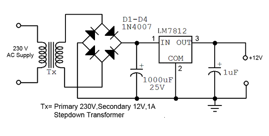 Simple 12v Fixed Voltage Power Supply Circuit Diagram Diagram Circuit In 2020 Power Supply Circuit Circuit Diagram Power Supply Design