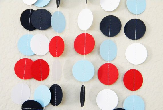 Patriotic or Nautical Navy Blue White Red Light Blue Party Decoration Paper Garland Birthday Party, Nursery, Baby or Bridal Shower 10 feet