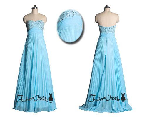 light blue prom dresses, long bridesmaid dress, sequins formal evening dresses 2014 P0030