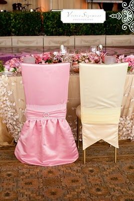 His and hers chair covers ) Pink wedding receptions