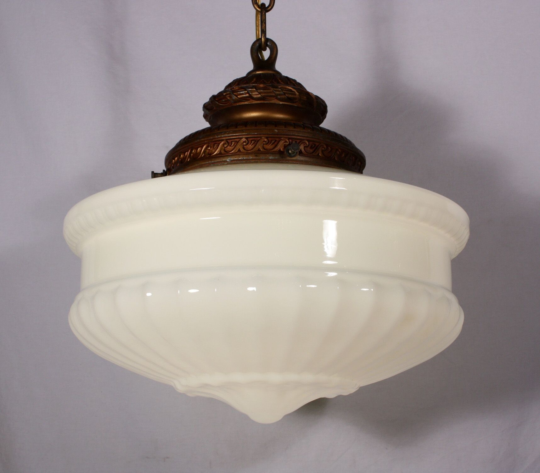 Large antique pendant light fixture with original milk glass shade c 1910 nc547 for sale antiques com classifieds