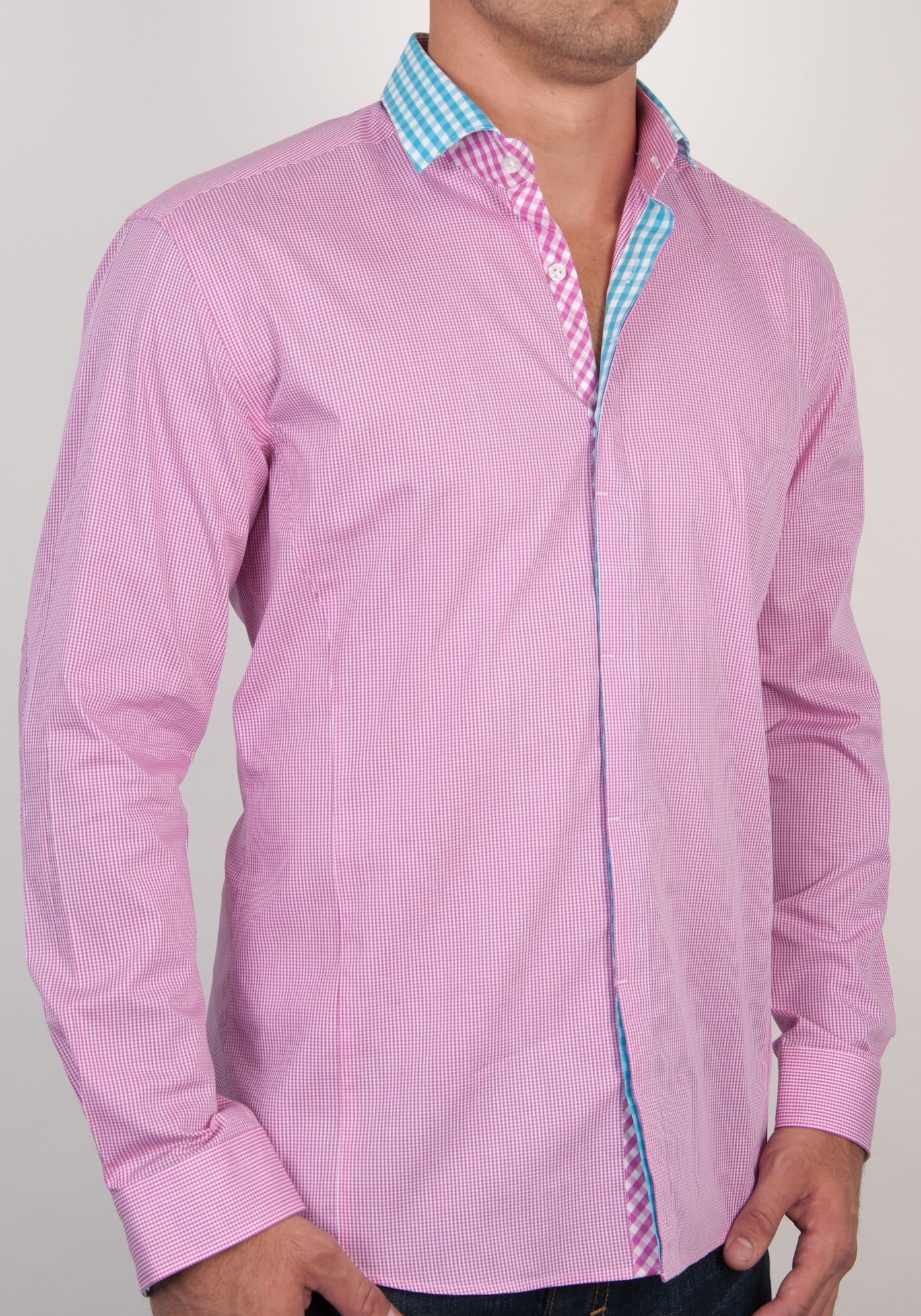 Fuchsia gingham button down shirt with turquoise check trim ...