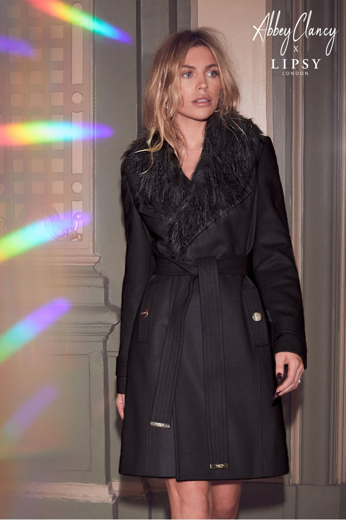 huge selection of look good shoes sale various design Womens Abbey Clancy x Lipsy Faux Fur Collar Wrap Coat ...