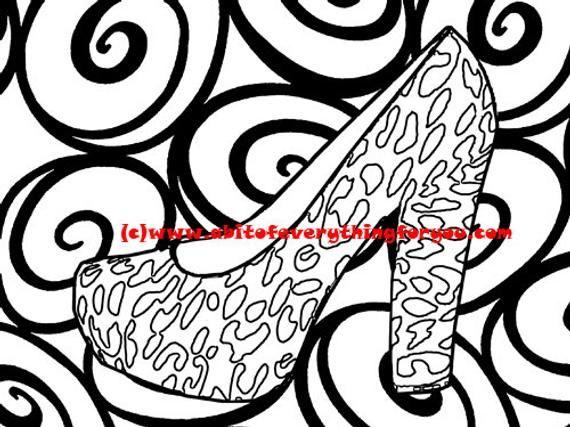 leopard high heels swirl pattern art coloring page