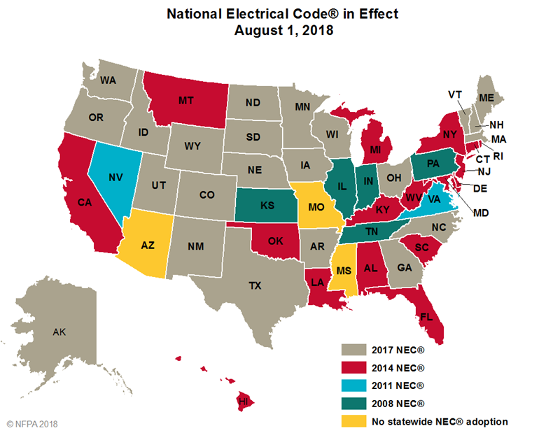 National Electrical Code in effect by State 8/1/2018