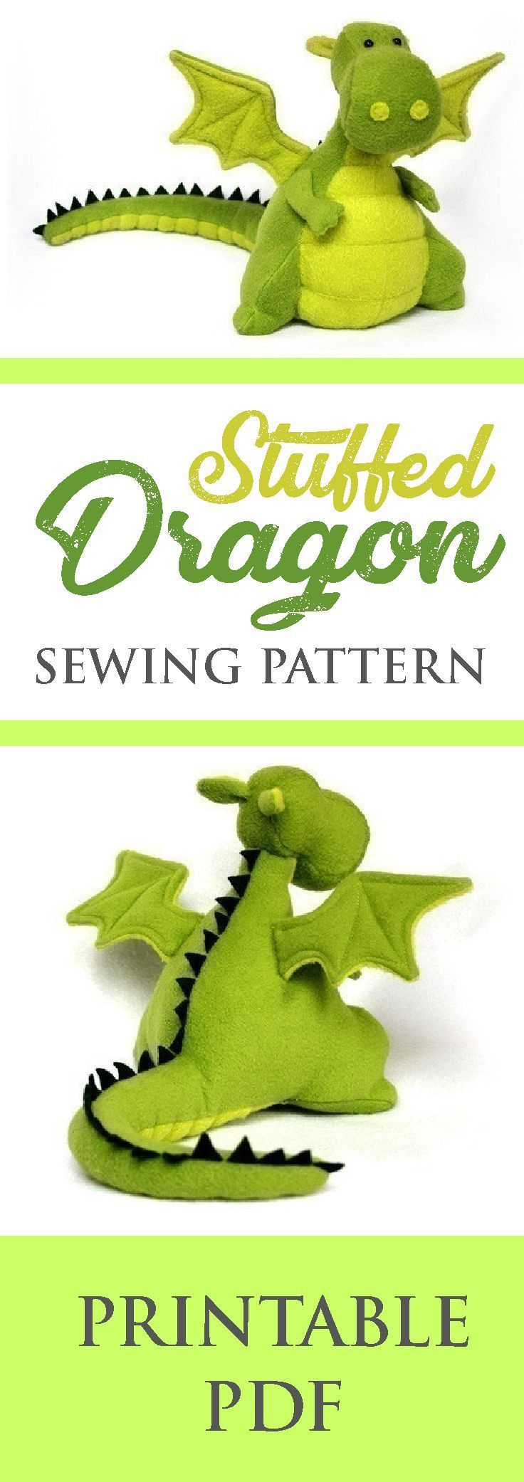 Stuffed Dragon Pattern #sewingprojects