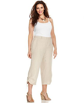 Charter Club Plus Size Linen Ruched Cropped Pants