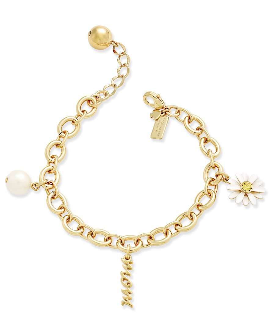 Kate Spade New York 12k Gold Plated Mom Charm Bracelet