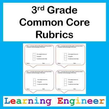 3rd Grade Rubric, Common Core ELA and Math, Self Assessment - student self assessment