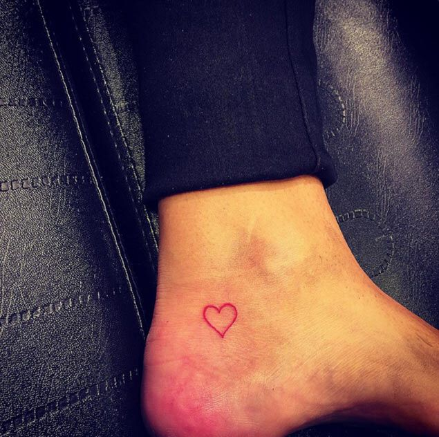 Behind The Left Ear Light Pink Or Coral Salmon Color Ankle Tattoo Small Heart Tattoo Ankle Ankle Tattoo