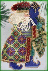 Feliz Navidad Santa Ornament Kit Mill Hill 2014 Celebration Santas