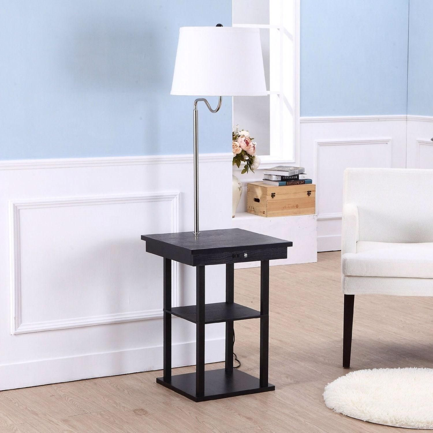 Modern Side Table Floor Lamp With White Shade USB Ports Built In Outlet