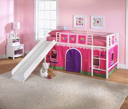 New Kids Twin Loft Bed Curtain Flowers Fire Truck Play