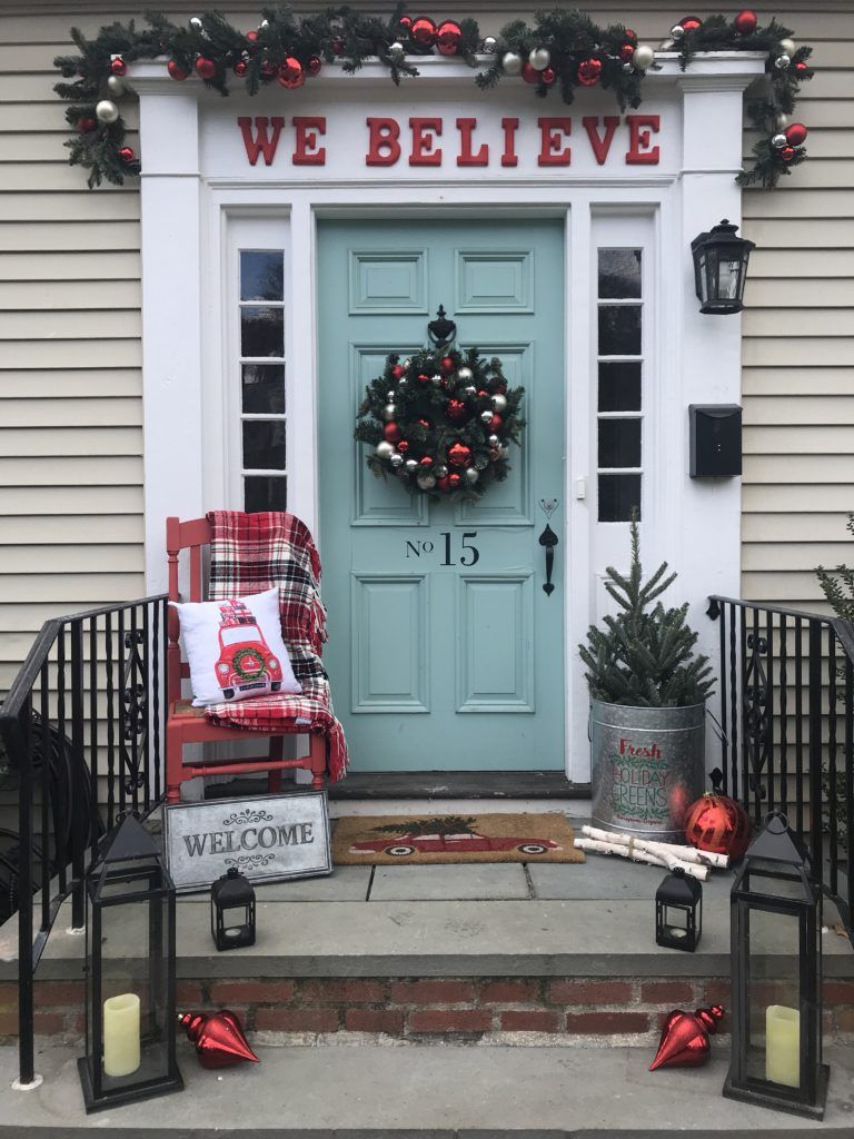 magical and merry holiday home tour apple todaychristmas porchchristmas front doorschristmas ideasdoor - Christmas Front Porch Decorations Pinterest