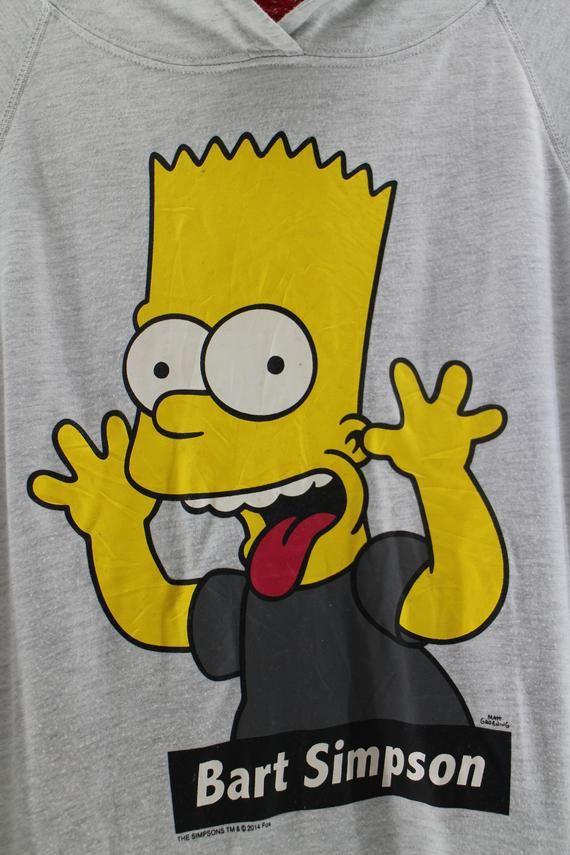 14efd348 BART SIMPSON Half Hoodies Sweatshirt Pullover T-shirt Unisex Medium Bart  Simpson Hoodie Big Logo